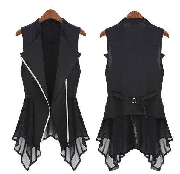 Бесплатная доставка 2015 новый шифон Куртка весна Осень модели Женщины Стройная Длинный жакет Европа рукавов Пальто и Куртки. ML, XL
