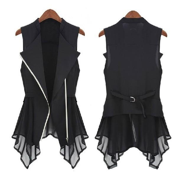 Free shipping 2015 new chiffon Jacket spring Autumn models Women Slim Long jacket  Europe sleeveless Coats & JacketS.M.L,XL