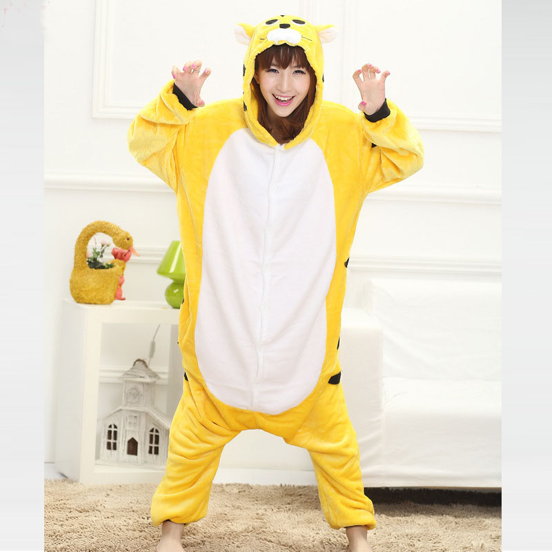 yellow tiger adult onesie
