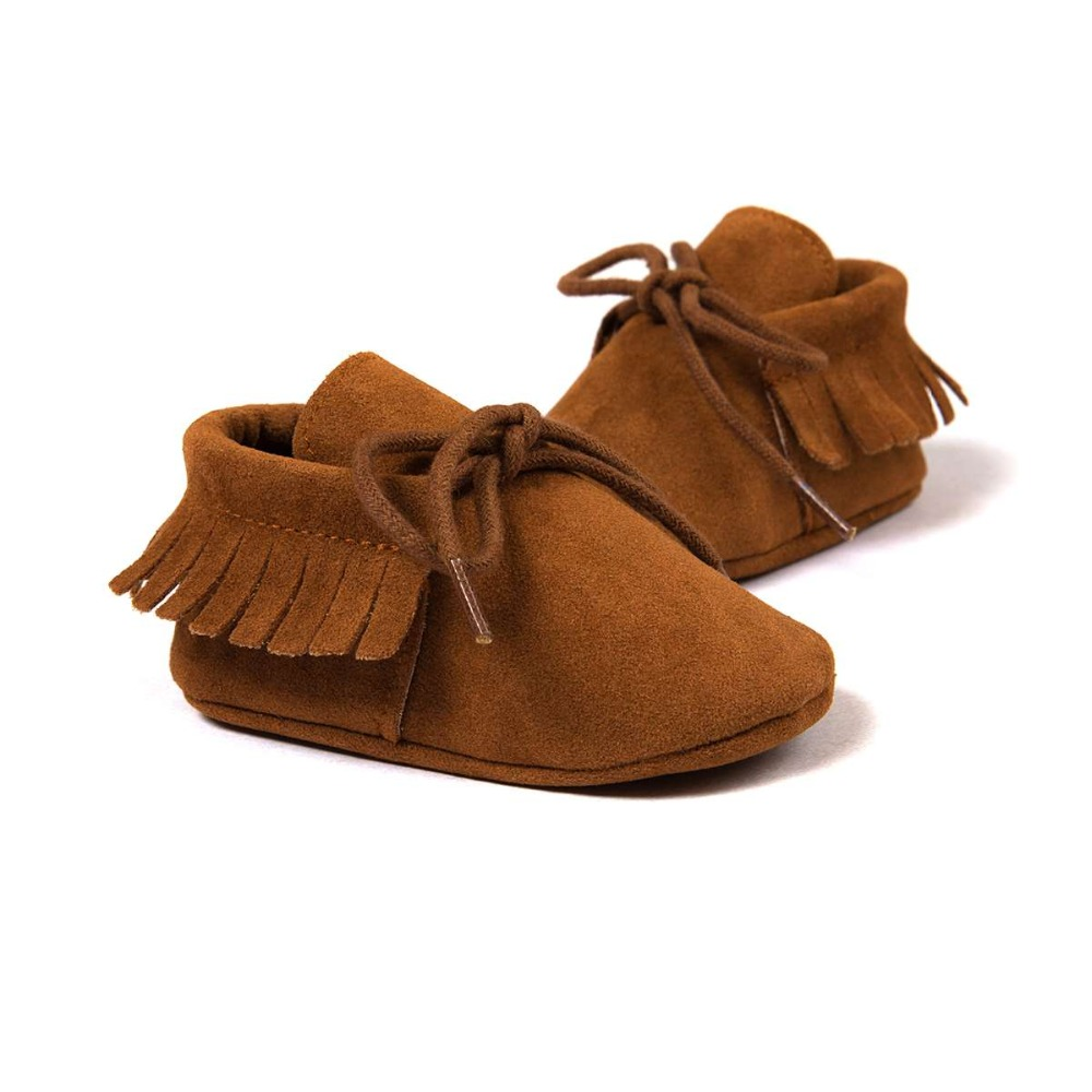 Baby Boys Girls Moccasins Soft Moccs Shoes Bebe Fringe Soft Soled Non-slip Footwear Crib Baby First Walkers Shoes PU Suede Leath