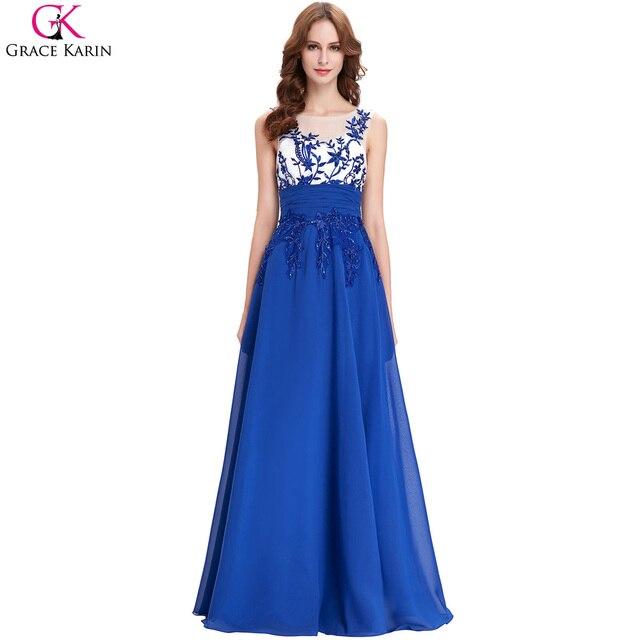 57b503c37 Gracia Karin 2017 de Encaje Apliques Baratos Vestidos Largos Para La Boda  Real Azul de Damas