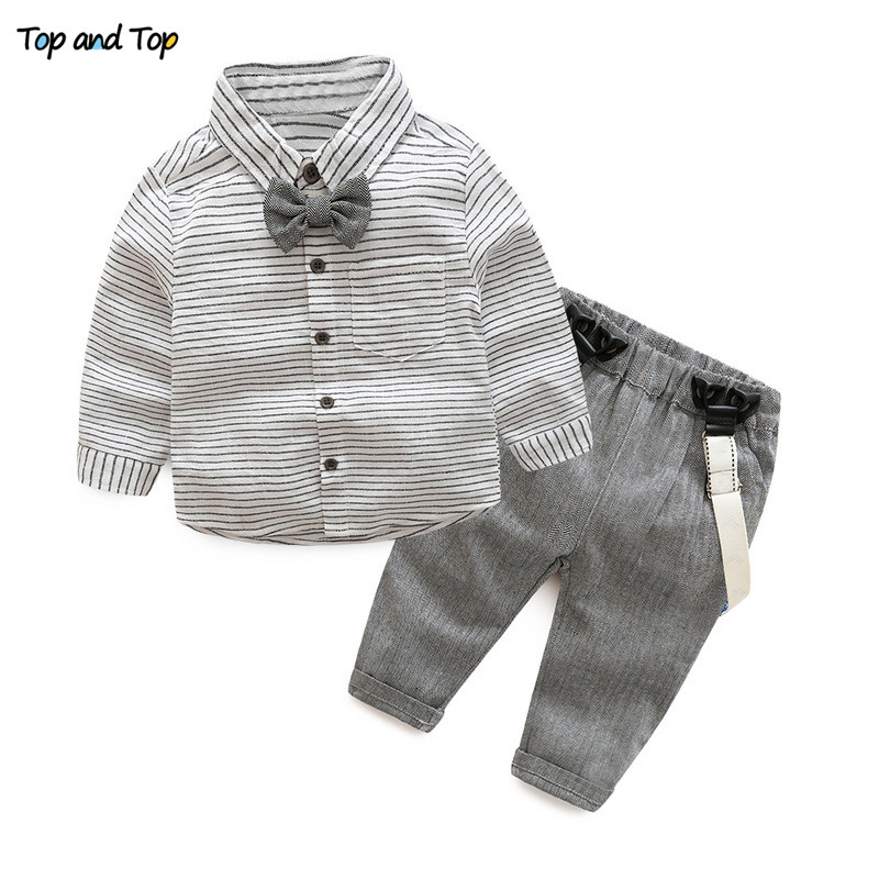 443f96c8770 Dropwow Top and Top Toddler Baby Boys Gentleman Clothes Sets Long ...