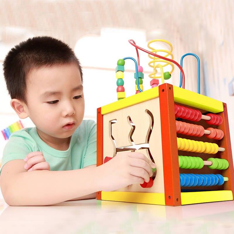 Haute qualité bois 5 en 1 multifonctionnel intellectuel blocs de construction jouet avec boîte en bois lumières ronde perle jouets éducatifs