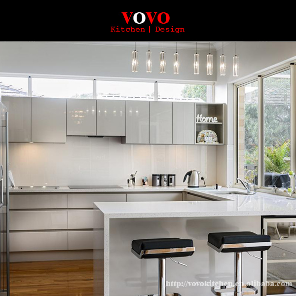 2016 New arrival high gloss modern white lacquer kitchen