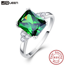 JQUEEN New Fashion 5.3 ct Nano Russian Emerald Ring 925 Solid Sterling Silver Set High Quality Best Brand Jewelry For Women