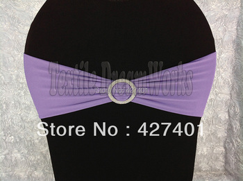 Hot Sale Purple Spandex Bands / Lycra Band /Chair Covers Sash With Round Buckle For Wedding & Banquet