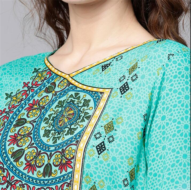 Print Costume India Woman Ethnic Styles Set Cotton India Dress Three Quarter Sleeve Costume Elegent Green Lady Long Top in India Pakistan Clothing from Novelty Special Use