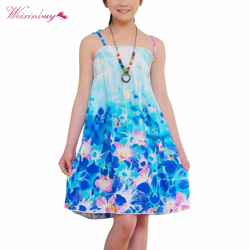 Baby Girls Dress Brand 2018 New Summer Beach Style Floral Print Sundress For Girls Vintage Toddler Girl Clothing With Necklace tutudress 2018 new brand summer style