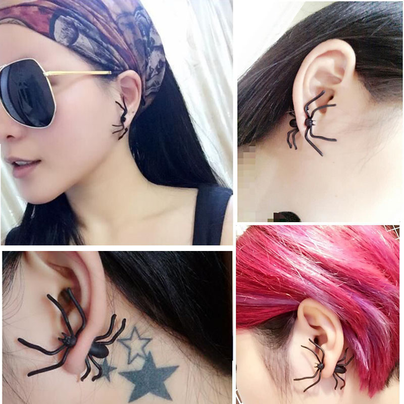 Halloween Decoration 1Piece 3D Creepy Black Spider Ear Stud Earrings for Haloween Party DIY Decoration Home Decor 4