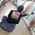 Мода Куртка Новый 2016 Осень-Хай-Стрит Женщины С Длинным Рукавом PU Роскошный Цветок Вышивка Черный Тонкий Улица Куртки