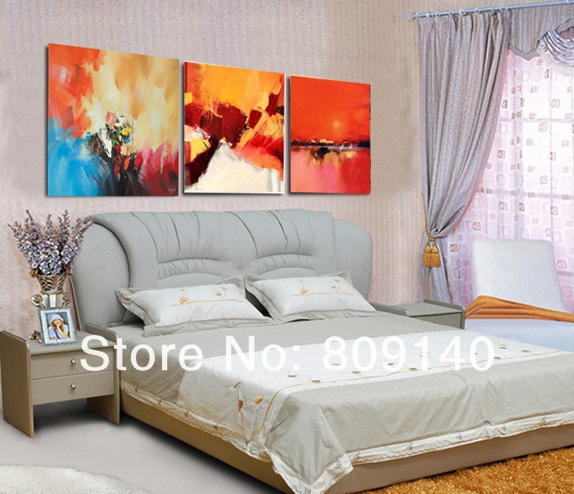 Abstract oil painting canva quality handmade modern home office hotel bedroom Bright wall art decor decoration Artwork free ship-in Painting u0026 Calligraphy ... & Abstract oil painting canva quality handmade modern home office ...