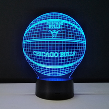 Household Desk Accessories 3D Night Light Basketball Team Chicago Bulls Table Lamp Color Changeable Luminous Awesome Gift Lampen