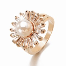 2017 Newest Rose Gold Ring White Yellow Color Customized Ring Flower Men Made Pearl Engagement Wedding Rings Gift Box Jewelry