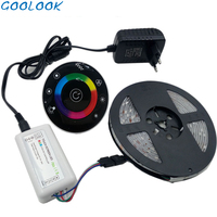 Goolook LED Strip Light 5m 2835 Waterproof rgb Strip Flexible 3528 led Tape Round touch Controller DC12V 2A adapter