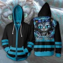 цена на Alice in Wonderland Cheshire cat Cosplay Costume Men Woman 3D Movie hoodies Sweatshirt Jacket Hooded Top New