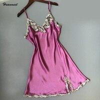 Raso di Seta Da Notte di Estate S leeveless Vestito Camicie Da Notte Calda Mini Donne Lace Sleepwear Sexy Lingerie Sleepshirt Femme SY097
