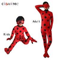 Coshome La Miraculeuse Coccinelle Cosplay Costumes Perruques Pour Adultes Enfants Junpsuit Lady Bug Marinette Rouge Justaucorps Avec Sacs Masques