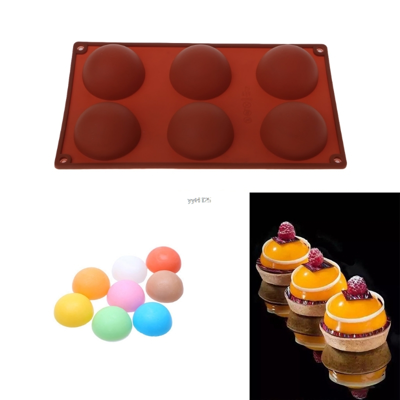 6 Cavities Large Hemisphere Cake Dome Mould Chocolate Silicone Baking Mold Tray Mar