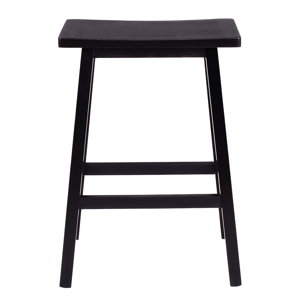 2pcs 29 Solid Pine Wood Saddle Seat Bar Stool Bar Chair Black Dropshipping bar stool black solid wood seat height adjustable american style old bar chair 010