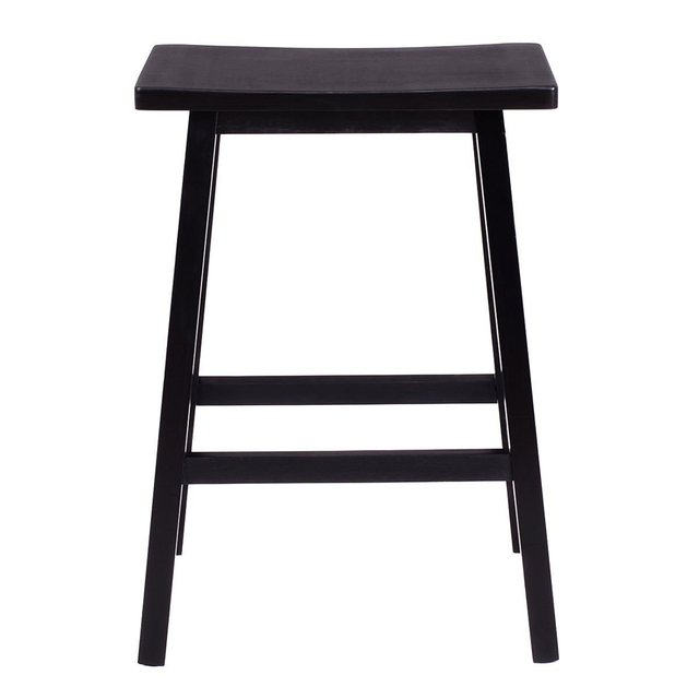 2pcs 29 Solid Pine Wood Saddle Seat Bar Stool Chair Black Dropshipping