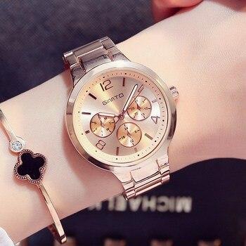 GIMTO Small Brand Rose Gold Women Watch Steel Luxury Ladies Watch Creative Girl Quartz Wristwatch Clock Montre Relogio Feminino дамски часовници розово злато