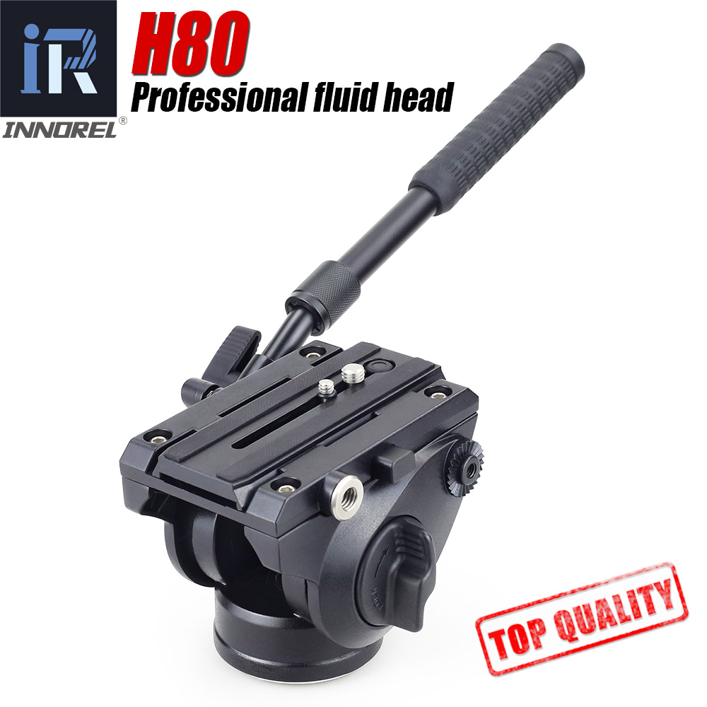 H80 Video Fluid Head Hydraulic Damping DSLR Tripod Monopod Manfrotto 501PL Bird Watching 2 sections handle Panoramic head 360 360┬░ two handle hydraulic damping three dimensional tripod head for camera black