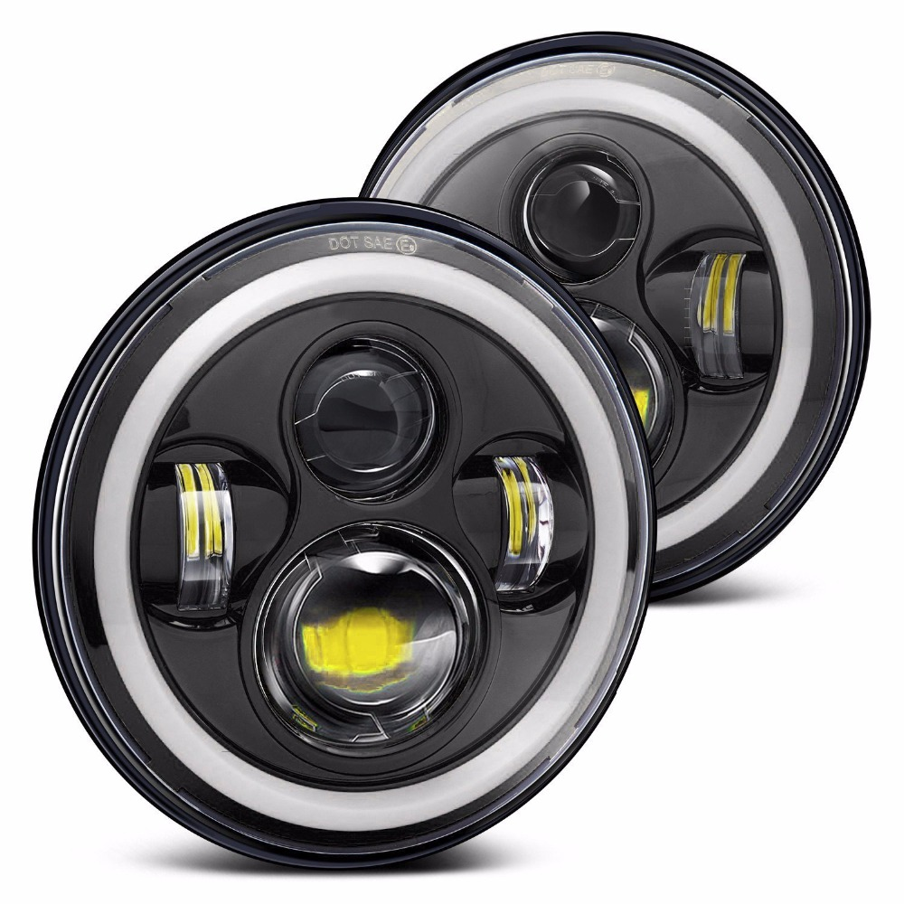 7 Daymaker LED Halo Ring Angel Eyes Headlight For Jeep Wrangler Round Projector  Headlights DRL For Hummer Land Rover Defender 7inch round 105w led projector headlight h4 drl high low beam yellow halo angel eyes for harley 07 15 wrangler