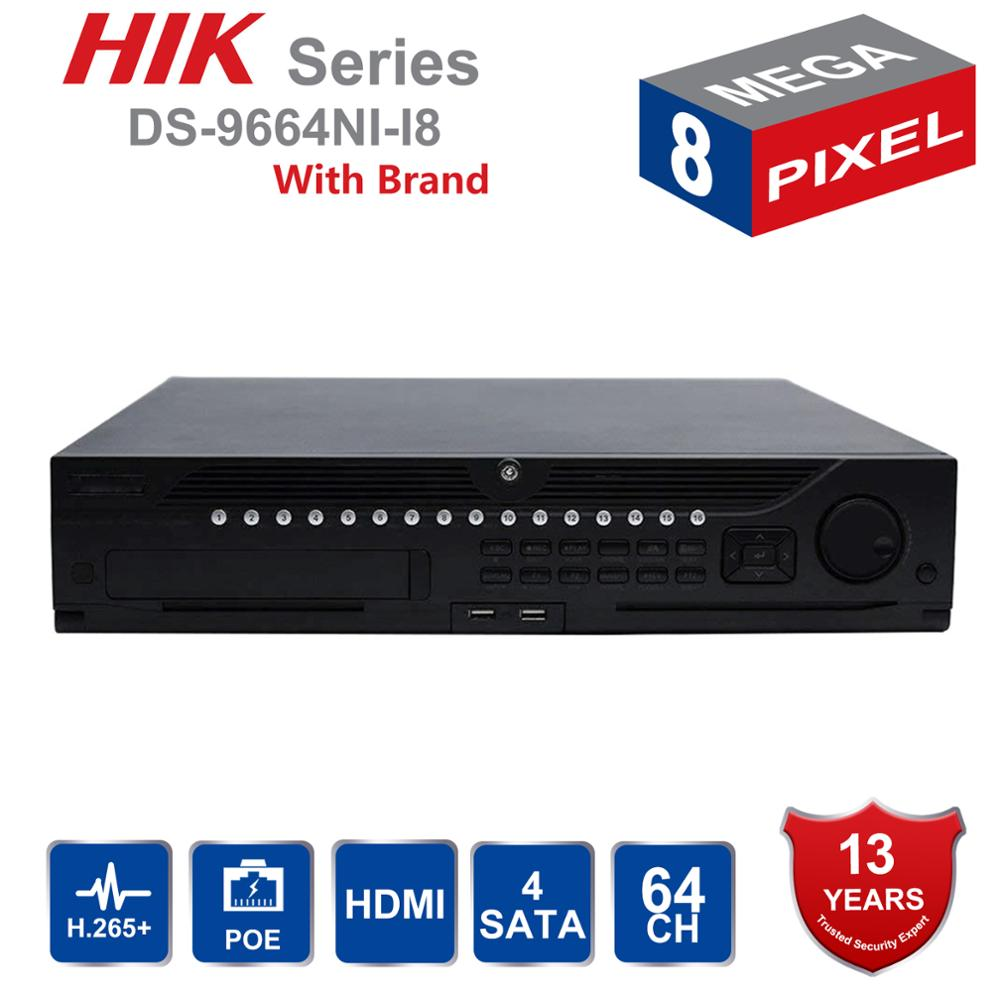 Système de vidéosurveillance professionnel 64 canaux Hik DS-9664NI-I8 intégré 4 K NVR jusqu'à 12 mégapixels résolution 8 SATA 2 HDMI