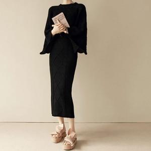 Image 5 - Conjunto de 2 piezas de punto para mujer, Tops holgados de manga de murciélago + falda ajustada, trajes de Jersey para mujer 2020