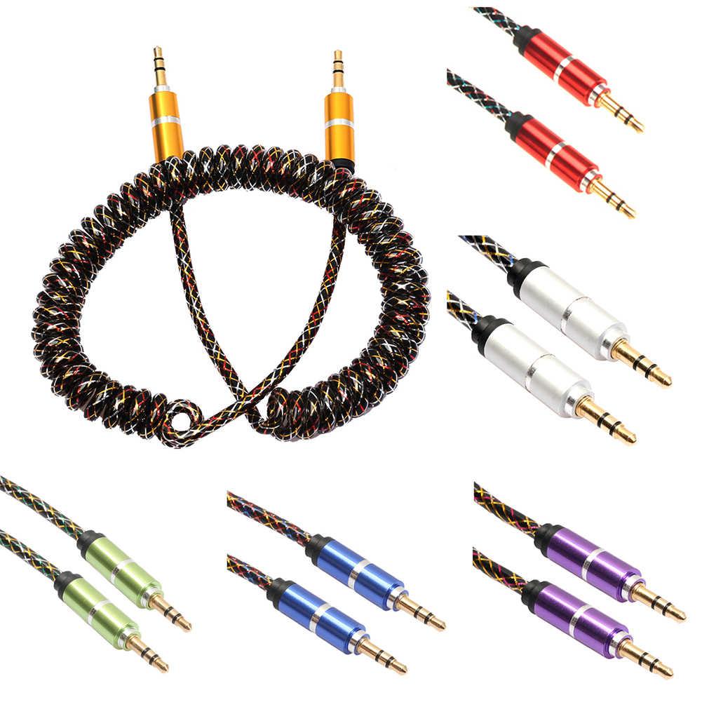 Vodool Kabel Aux Dikepang Kain 3.5 Mm Jack Male To Male Stereo Audio Musik AUX Kabel Tambahan untuk PC Ipod MP3 Mobil Ponsel