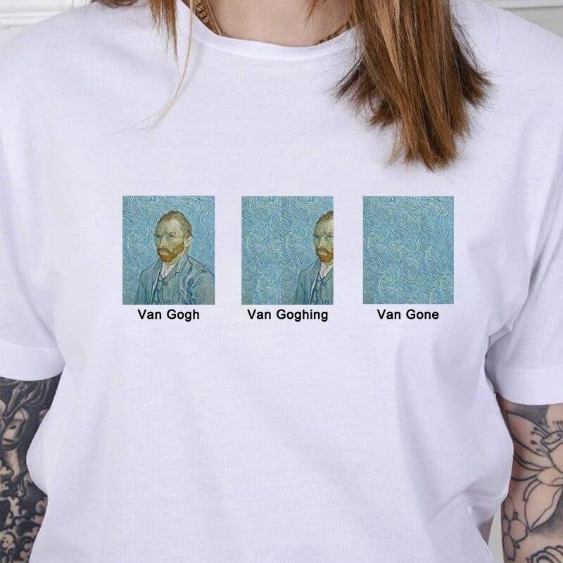 Summer New 2019 Harajuku Vintage Tshirt Van Gogh Van Goghing Van Gone Meme Funny Aesthetics   T     Shirt   Vogue Cute Print Women Tops