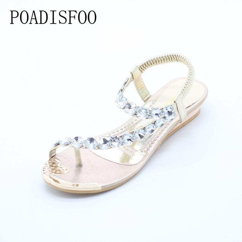 POADISFOO 2017 new Summer female Classics Fashion flat sandals toe sandals Bohemia fashion women shoes women .HYKL-8809-1 poadisfoo new summer women s shoes sandals peep toe square heels solid sandals waterproof women shoes for ladies hykl a772