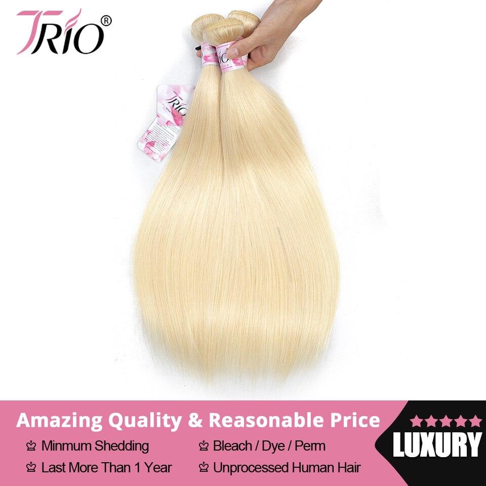TRIO 613 cheveux raides humains blonds paquets 3/4 paquets vente indien Remy cheveux armure 100% cheveux humains armure