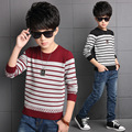 2016 Toddler Boys Pullovers Korean New Winter Style Striped Cotton Long Sleeve O-neck Thickening Keep Warm Fashion Sweaters