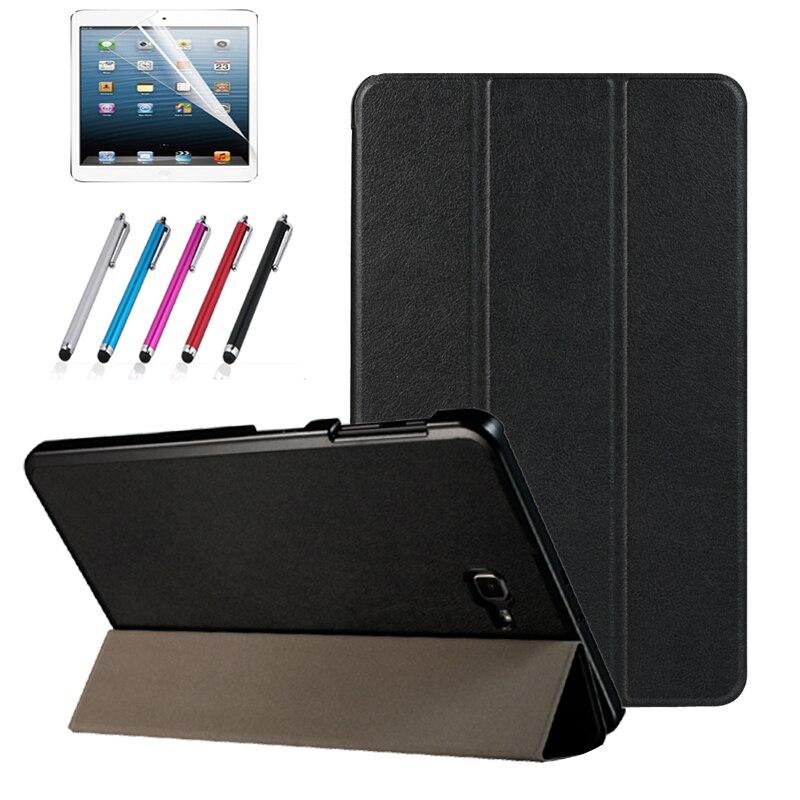 Magnetischer standplatz pu ledertasche für Samsung Galaxy Tab A6 10,1 2016 T585 T580 SM-T585 T580N funda-kasten-abdeckung + film + stylus