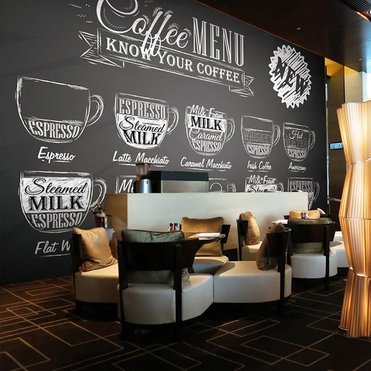 Custom size photo black white graffiti 3d mural coffee for Coffee shop mural