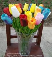 Real touch blume anordnung, 25 stücke tulpen & vase set, startseite hochzeit tischdekoration, orange weiß gelb rosa blau rot