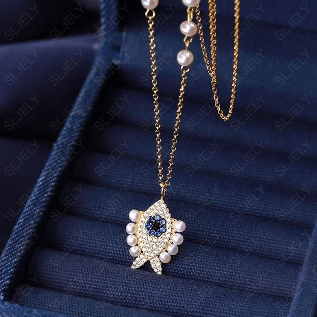 SLJELY collier en argent Sterling 925 pour femmes, pendentif en argent Sterling, couleur or jaune, perle aux yeux porte bonheur, chaîne ajustable, juin