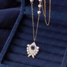 Slzely luxo 925 prata esterlina amarelo ouro cor olho de sorte pérola peixe pingente colar ajustar corrente mulheres fino junho jóias