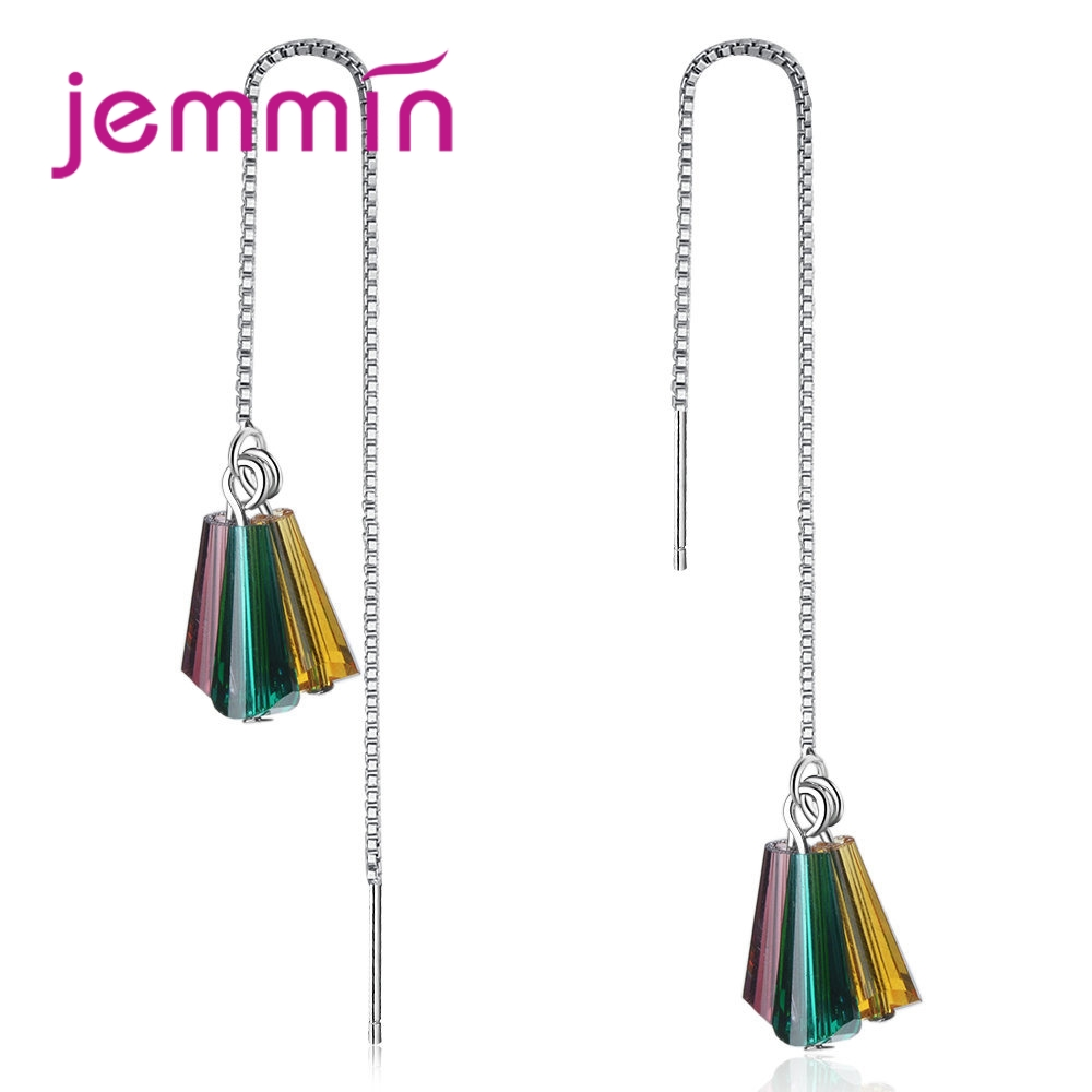 JEMMIN High Quality Crystal 925 Sterling Silver Pendant Earrings for Women Bridal Wedding Engagement Anniversary AccessoriesJEMMIN High Quality Crystal 925 Sterling Silver Pendant Earrings for Women Bridal Wedding Engagement Anniversary Accessories