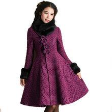 2016 Autumn and Winter Fashion Vintage Slim Waist Stand Collar Outwear Fur Collar Long Sleeve Woolen Coat Slim Female Overcoat
