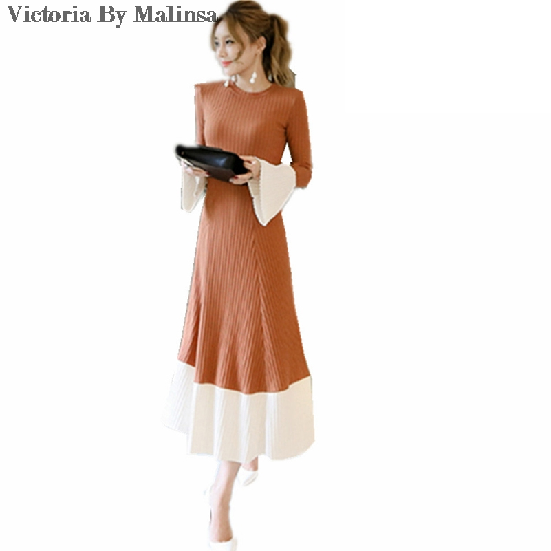 2018 Winter Fashion Women Patchwork  Elegant Party knitting Long  Dress Knitted Flare Sleeve Vestidos dresses