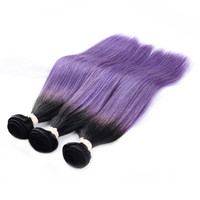 LADYSTAR Remy Hair Bundles Straight Bundles Human Hair Extensions Hair Weft Ombre Color Black/Purple