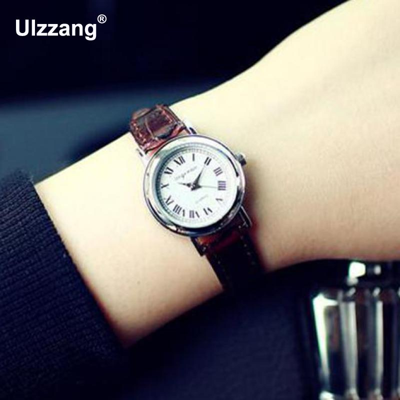 Luxury Vintage Small Rome Dial Genuine Leather Thin Strap Quartz Dress Watch Wristwatches for Women Ladies Girls fashion vintage big number magic leather strap quartz analog wristwatches watch for women ladies girls black brown blue