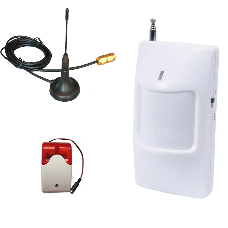 GSM Antenna Network Antenna Wireless PIR Motion Detector Sensor Wired Strobe Siren Flashing Light  For GSM SMS Remote Controller gsm sms remote controller