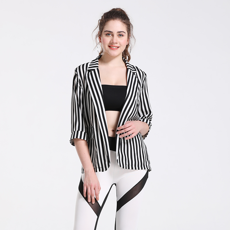 Women's Suit Jacket Office Look Striped Jacket Turn-Down Collar Chic Office Style Harajuku Jacket Female Korean Female
