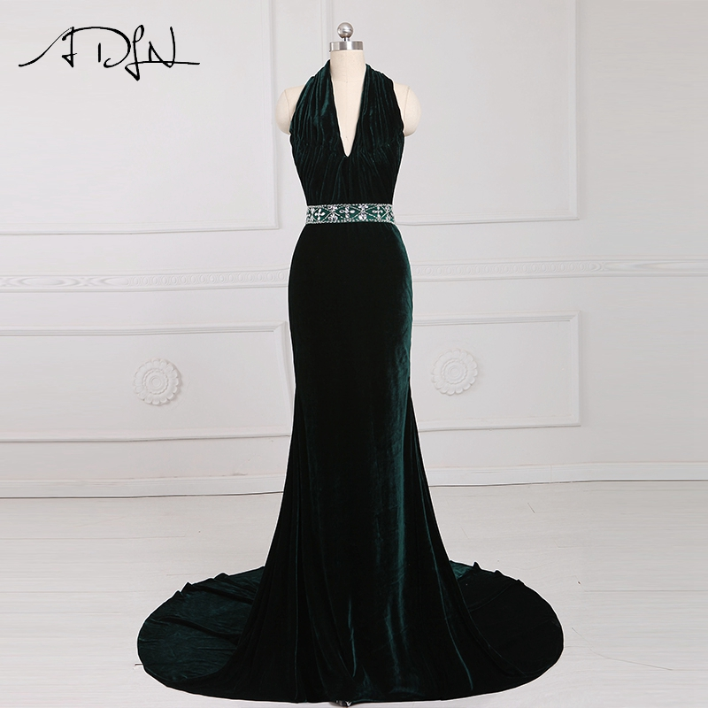 ADLN Elegant Classical Velvet Long   Evening     Dresses   Sexy Halter Beaded Velour Prom Gown Custom Made Special Occasion Wear