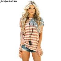 Jocelyn Катрина бренд Модные женские туфли американский флаг Топы корректирующие летние шорты рукавом Повседневное дамы Футболки для девочек ...