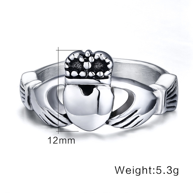Claddagh Ring Stainless Steel Heart Wedding Band Made in Ireland 1