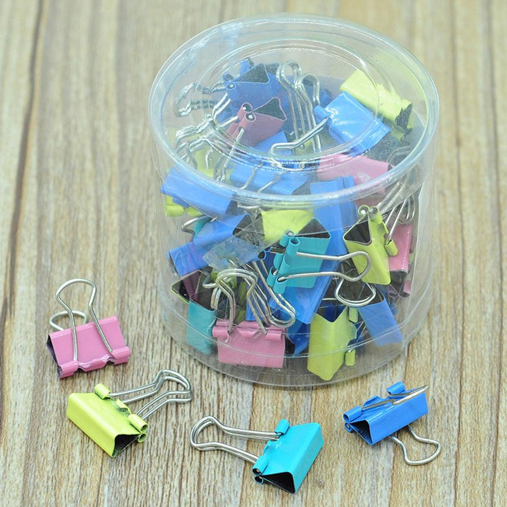 Metal Clip 60PCS/lot 15mm Colorful Metal Binder Clips Paper Clip Office Stationery Binding Supplies R27(China)